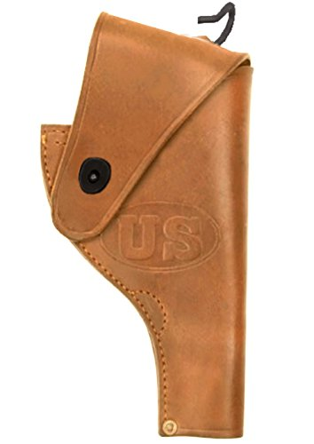 (Ultimate Arms Gear Tactical Militaria U.S. Army Military WW2 WWII United States Embossed Reproduction Genuine Leather Smith & Wesson S&W .38 Revolver Open Top Leather Gun Victory Belt Holster-Tan)