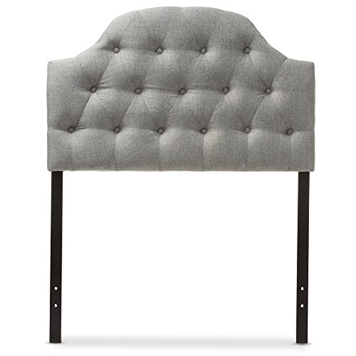 (Baxton Studio Maugier Modern and Contemporary Grey Fabric Upholstered Button Tufted Scalloped Headboard, Twin)