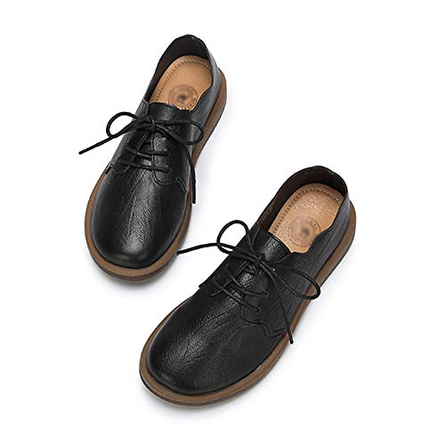 Herbst British Style Style Style Bequeme Volants Retro Flache Ferse Spitze Einzelne Schuhe Weibliche Farbe Optional (Farbe   SCHWARZ größe   37) d007a0