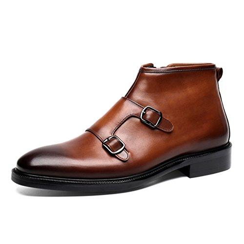 HWF Scarpe Uomo in Pelle Scarpe da uomo in pelle Scarpe alte Scarpe Martin Stivali a punta corta British Style (Colore : Nero, dimensioni : EU43/UK8) Marrone