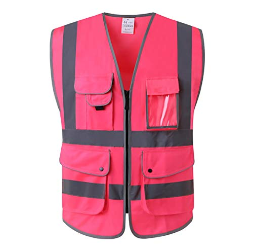 XIAKE Class 2 Reflective Safety Vest with 9 Pockets and Front Zipper High Visibility Safety Vests,ANSI/ISEA Standards(Small,Pink) ()