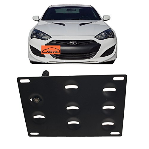 JGR Racing Car No drill Tow Eye Front Bumper Tow Hole Hook License Plate Mount Bracket Holder Adapter Relocation Kit For Hyundai Genesis Coupe 10-16 2010 2011 2012 2013 2014 2015 2016 ()