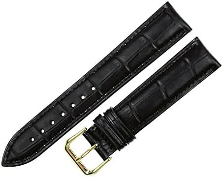 RECHERE Alligator Crocodile Grain Leather Watch Band Strap Gold Pin Buckle Color Black (Width 12mm)