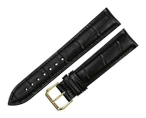 RECHERE Alligator Crocodile Grain Leather Watch Band Strap Gold Pin Buckle Color Black (width 18mm) (Longines Strap Watch)