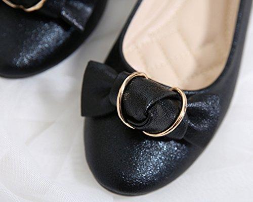Dolphingirl Femmes Tombent Bas Top Slip-on Ballet Chaussures Plates Mocassins Doux Noir