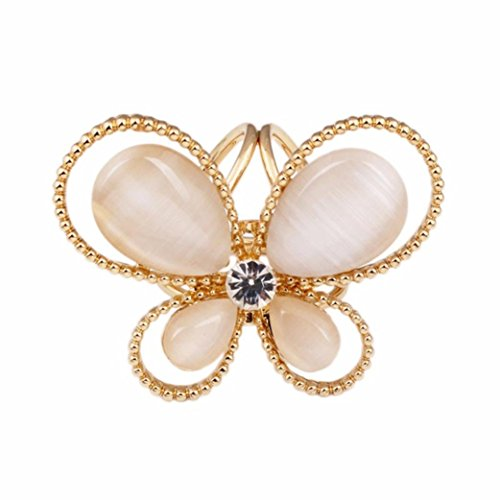 Mariposa Curtain (Usstore 1PC Women Lady Tricyclic Butterfly Scarf Scarf Buckle Brooch Popular Jewelry Holder Decorate Gift (Gold))