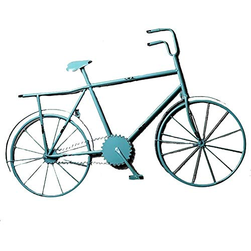 YYi-kuG Statués Bicycle Wall Hanging Decoration Wrought Iron Vintage Home Bar Cafe Wall Decoration Decorative Pendant Home Décor/Sculptures (Color : Blue) (Wrought Iron Wall Bicycle Art)