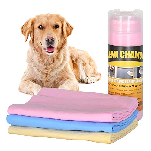 """Xpect Chamois Drying Towel for Dogs Car Drying Shammy Towel Kitchen Cleaning Towel Ultra-Absorbent Machine Washable 27"""" x 17"""" Pink"""