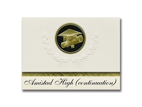 Signature Announcements Amistad High (continuation) (Indio, CA) Graduation Announcements, Presidential style, Elite package of 25 Cap & Diploma Seal. Black & Gold.