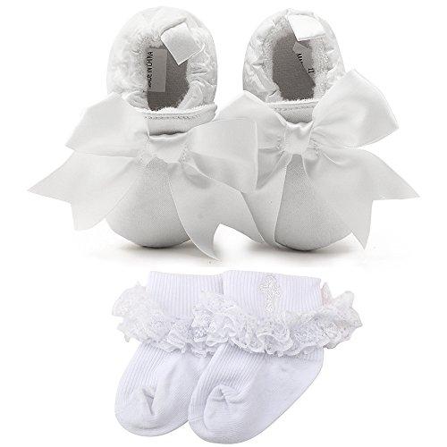 OOSAKU Baby Girl Christening Baptism Flower Lace Shoes Dance Ballerina Sneakers (9-12 Months, Shoes & Socks B)