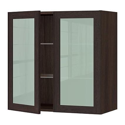IKEA – Armario de pared con 2 puertas de cristal, Marrón, ekestad marrón 30