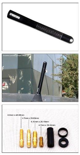 R/&L Racing 5 Real Carbon Fiber Aluminum Short Antenna Polished Sandblast Universal Screws Base