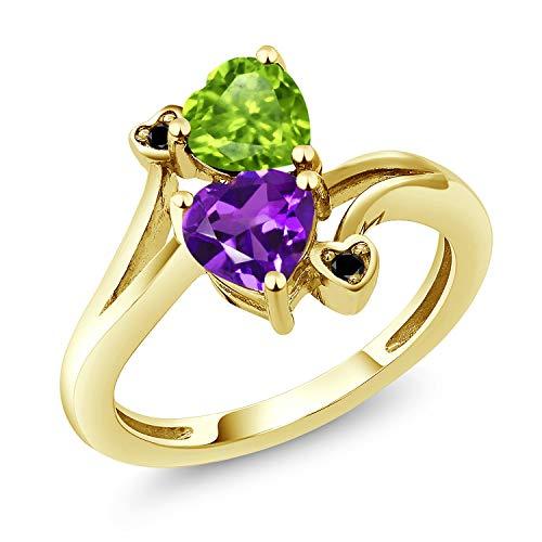Gem Stone King 1.51 Ct Green Peridot Purple Amethyst 18K Yellow Gold Plated Silver Ring (Size 7) ()