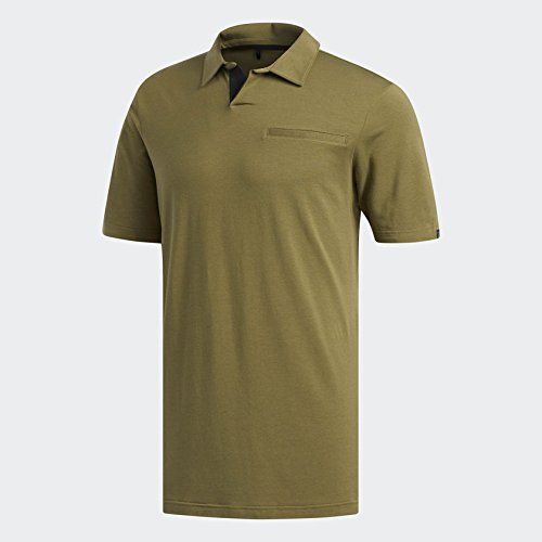 adidas Golf Men's Adicross Johnny Collar Polo, Olive Cargo, Large