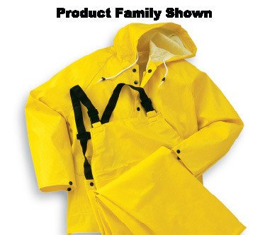 Onguard Industries Medium Yellow Webtex .6500 mm PVC And Non-Woven Polyester Rain Jacket With Storm Flap Front Zipper Closure And Hood (Woven Snap)