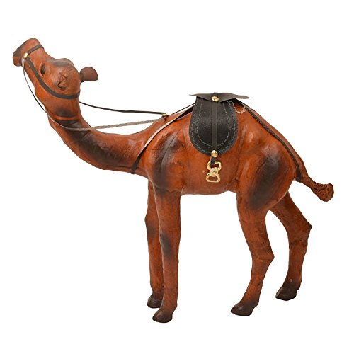 Garden Of Arts Handicrafts Leather & Suede Standing Camel Figurine (Brown)