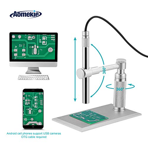 Aomekie USB Digital Microscope Magnifier Camera Video 200X Zoom 1600x1200 HD 2MP PCB Inspection Handheld Endoscope with 8 LED Lights and CMOS Sensor for Mac Windows PC Android Phone -
