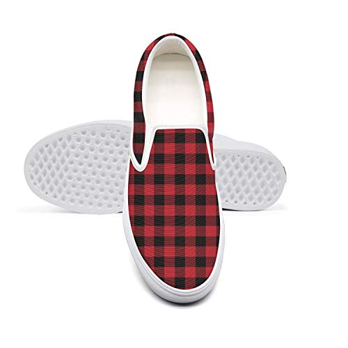 (Skateboard Womens Sneakers Shoes Plaid Printing Red and Black Plaid Slipons for Women Crazy Lightweight Canvas Sneakers)