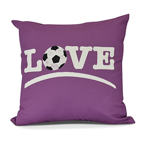 E by design PW870PK10-20 Love Soccer Decorative Word Throw Pillow, 20'', Pink by E by design