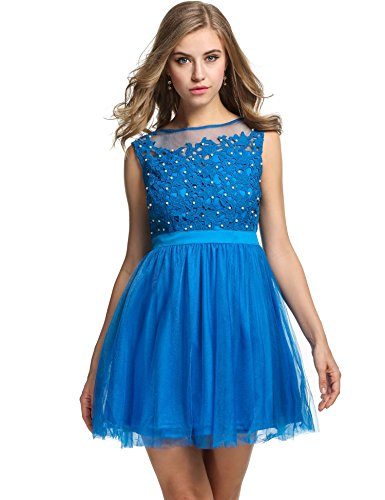 ANGVNS Sleeveless Applique Homecoming Cocktail