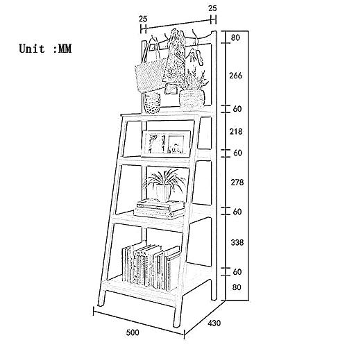 (DEED Children's Bookshelf Space Saving Solid Wood Trapezoidal Bookshelf Floor Wood Bedroom Storage Economy Corner Rack Home Office Living Room Furniture Combination Storage Rack,White)