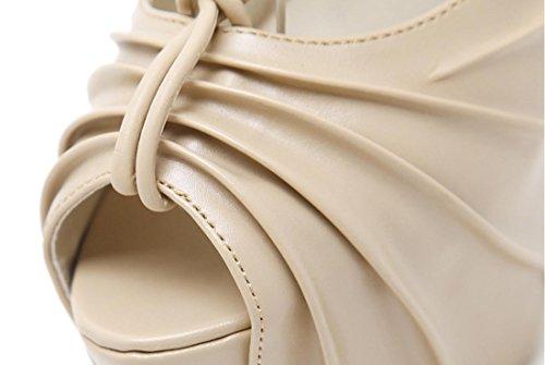 Señoras Mujeres Nueva Zapatos de tacón alto de estilete única boca de pescado superficial correa de tobillo cruz artificial PU impermeable negro otoño primavera verano club nocturno trabajo de fiesta apricot