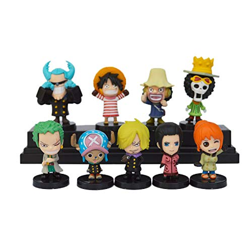 Coz' Place Set of 9 Pieces Mini One Piece Action Figures with Black Stands