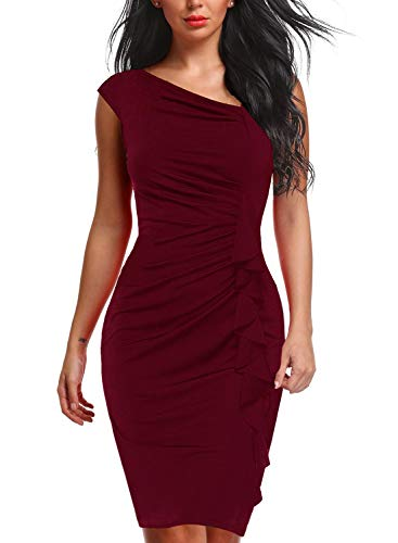 Berydress Women's Retro 1950s V-Neck Short Sleeve Knee-Length Ruffles Slim Ruched Bodycon Pencil Cocktail Dress (XL, 6073-Burgundy)