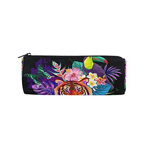 U LIFE Tropical Jungle Tiger Animals Floral Flowers Butterfly Pen Pencil Holder Case Bag Pouch Purse Cosmetic Makeup Bags by ALAZA