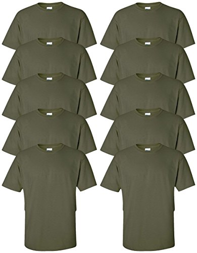 Gildan mens Ultra Cotton 6 oz. T-Shirt(G200)-MILITARY GREEN-L-10PK