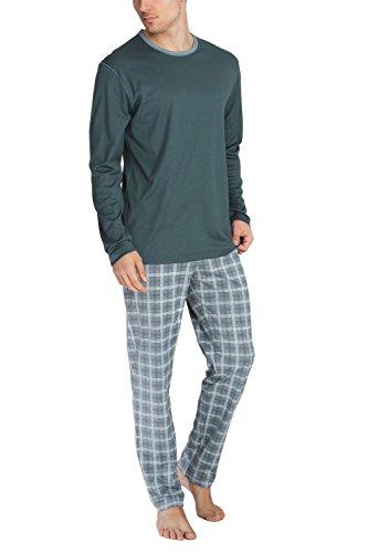 Calida Mens Cotton Knit Crew Neck Pajamas Set 43066 (Medium, 858) (Pajamas Cotton Calida)