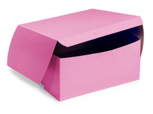 Pack Of 200, 7 X 7 X 4'' Solid Pink Bakery Boxes 1-Piece Lock Corner Box For Cakes, Pies, Cupcakes Made In USA