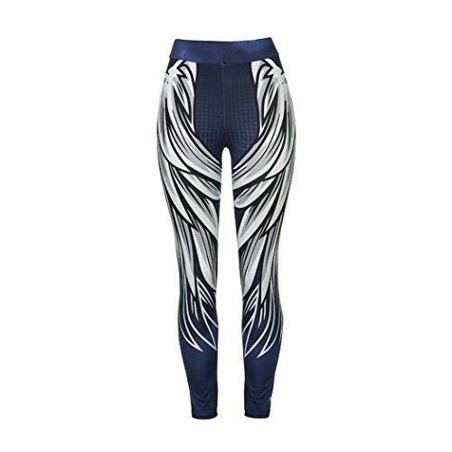 FIRERO Womens Wing Printed Yoga Skinny Workout Leggings Fitness Sports Cropped Pants Blue