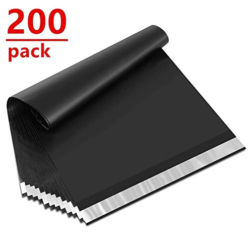 UCGOU 10x13 Inch 200Pcs Black Poly Mailers 2.35MIL Premium Shipping Envelopes Mailer Self Sealed Mailing Bags with Waterproof and Tear-Proof Postal Bags