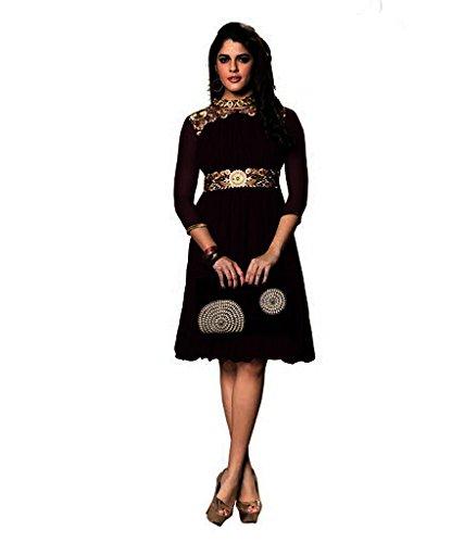 Jayayamala Schwarz Plissee Georgette Minikleid Goldfaden Stickerei Tunika für Damen
