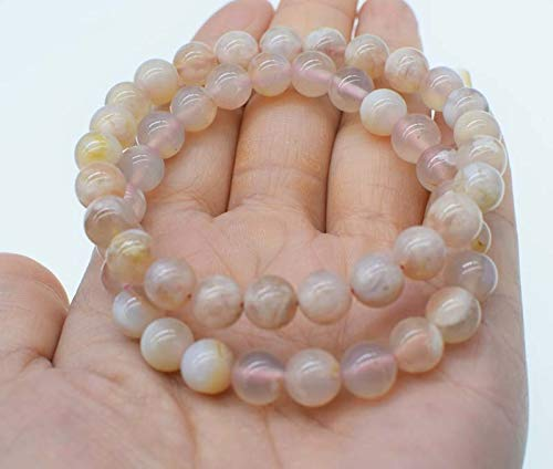 - Cherry Blossom Agates Stone Round 7-8Mm Bracelet | 7.5Inch Beads Nature