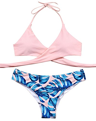(MOSHENGQI Women Front Cross Halter Push up Bikini Floral Bottom 2 Piece Cute Swimsuits (M(US 4-6),Pink))