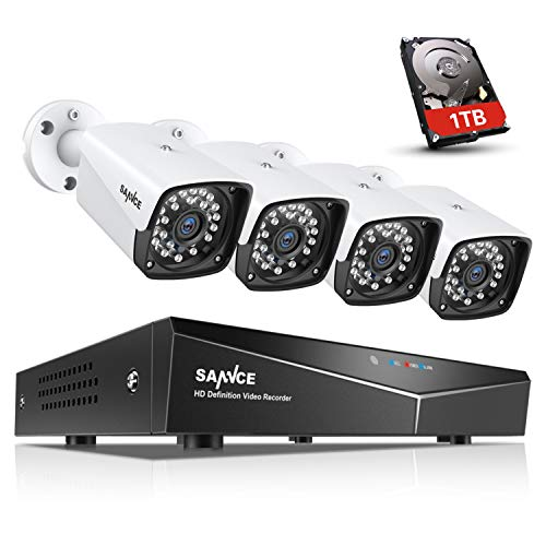SANNCE 1080P POE Security Camera System with 1TB Hard Drive,4 Pcs 1920TVL Outdoor/Indoor CCTV Cameras, Easy Installation, Real Plug & Play Network Video Surveillance -