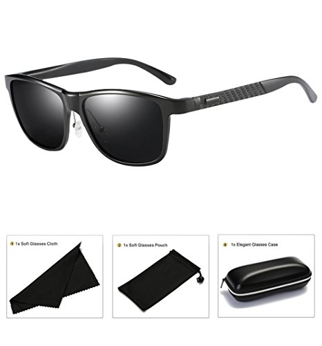 Fashion Polarized Sunglasses For Women Men Retro Brand Sun Glasses Square Frame (Black(a407), - Wide Best For Sunglasses Face