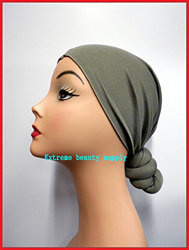 Pre-Tied Knotted Head Wrap Scarf (Gray)