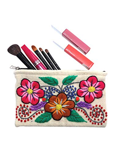 Raymis Handmade White Cosmetic Bag With Colorful Flowers Embroidered With Alpaca Wool/Make Up Bag/Pencil Case
