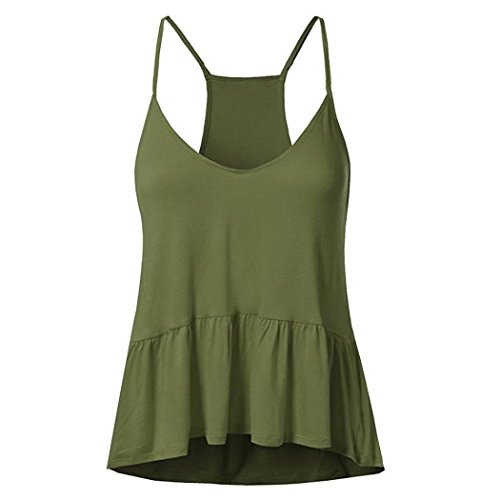 Wintialy Women's Summer Ruffles Sleeveless Tank Vest Plus Size Tops Tunic (Shell Sleeveless Silk Petite)