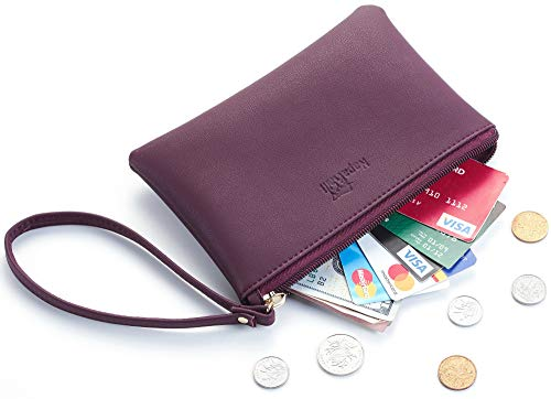 NapaWalli Genuine Leather Cash Coin Purse Pouch Make up Cellphone Bag with Strap (Cutie Red Wine)