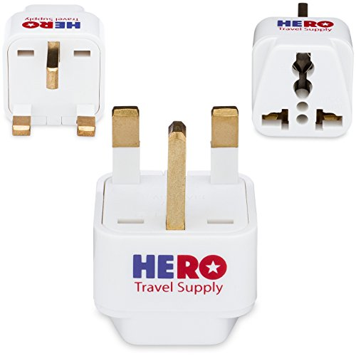 Premium US to UK Power Adapter Plug (Type G, 3 Pack, Grounded) - Individually Tested in the USA by Hero Travel Supply - Includes Cotton Carry Bag