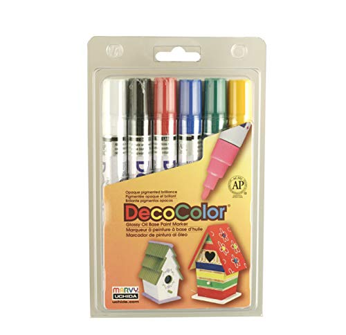 (Uchida 300-6A 6-Piece Decocolor Broad Point Paint Marker Set )
