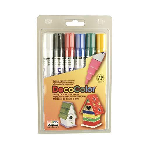 Uchida 300-6A 6-Piece Decocolor Broad Point Paint Marker - Decocolor Pens