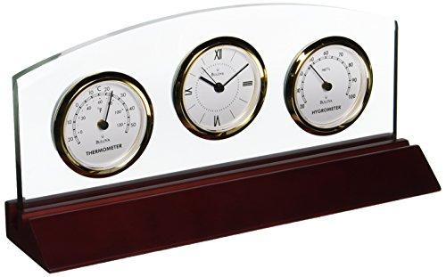 "Bulova Weston Executive Clock - Fahrenheit and Celsius scales Clear protective lens 8"" x 1"" engraving plate - clocks, bedroom-decor, bedroom - 41xX4IeHIfL -"