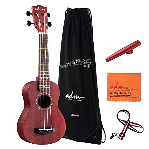 ADM Beginner Ukulele 21 Inch Soprano Kids Starter Pack Bundle with Gig Bag, Wine Red