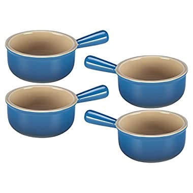 Le Creuset Marseille Blue Stoneware French Onion Soup Bowl, Set of 4