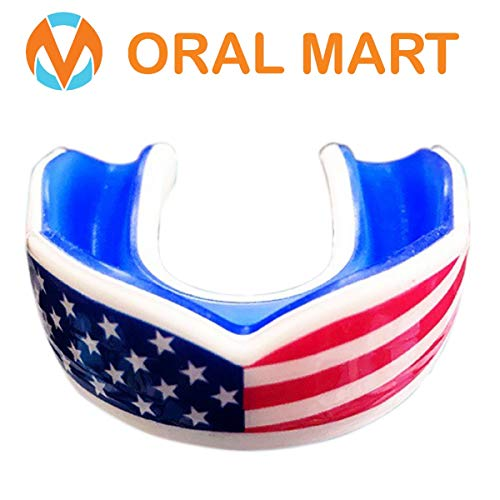 Oral Mart Adult Sports Mouth Guard (7 Best Colors, USA Flag, Vampire Fangs) - Adult Mouthguard for Football, Boxing, Karate, Martial Arts, Rugby, MMA, Sparring, Hockey (/w Vented Case)